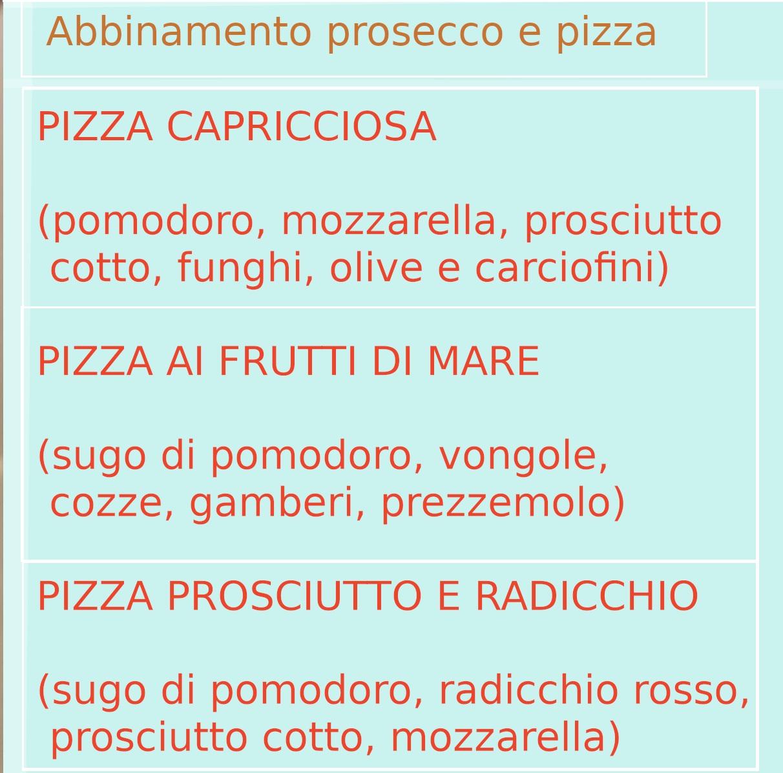 Abbinamento vino prosecco con pizza cosa scegliere